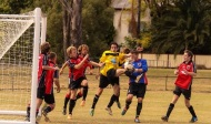 A game of soccer at Chinchilla Recreation Grounds
